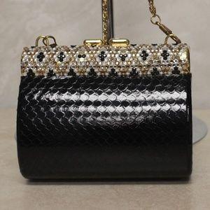 Classic Handbag Evening Black Rhinestone Clutch